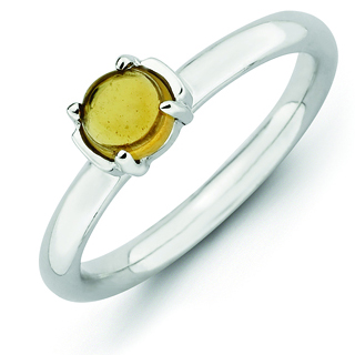 Sterling Silver Stackable Expressions Citrine Rhodium-plated Ring