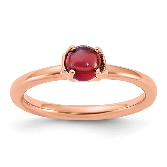 Rose Gold-plated Sterling Silver Stackable Garnet Ring