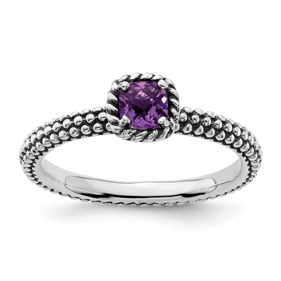Sterling Silver Stackable 1/3 ct Amethyst Beaded Ring