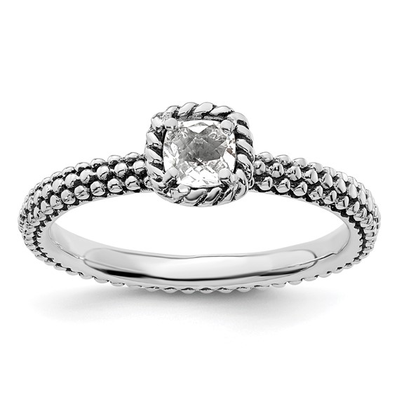 Sterling Silver Stackable Checkerboard White Topaz Beaded Ring