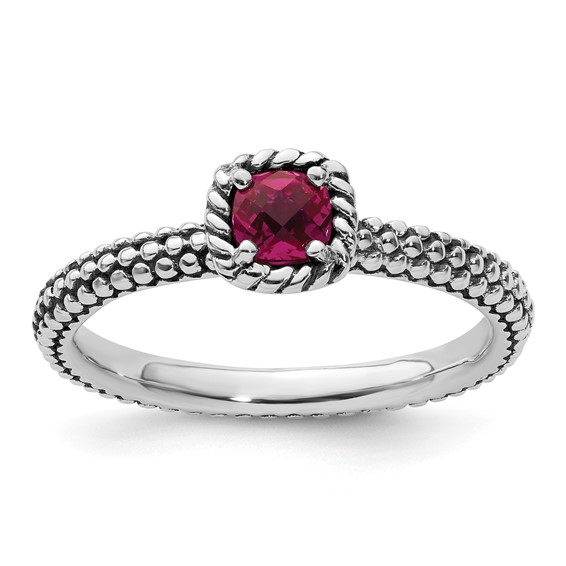 Sterling Silver Stackable Checkerboard-cut Created Ruby Beaded Ring