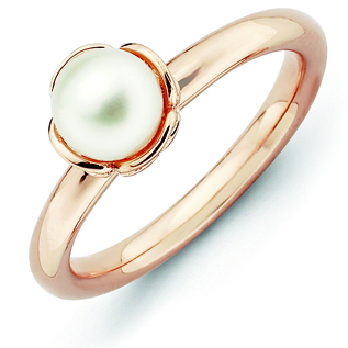 Rose Gold-plated Sterling Silver White Pearl Ring