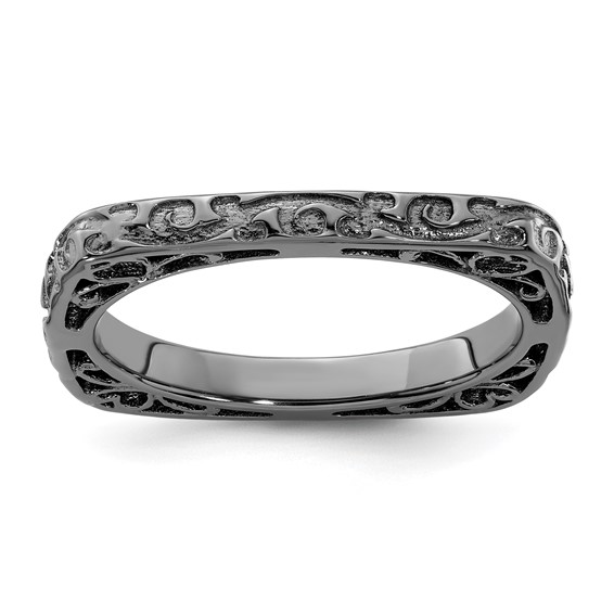 Sterling Silver Stackable Black-plated Square Ring with Vines