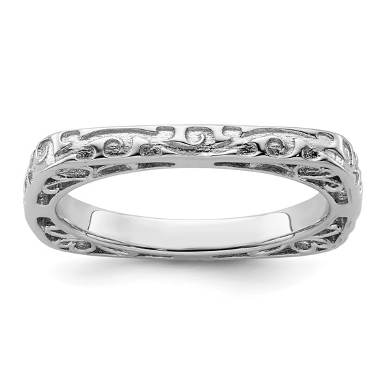 Sterling Silver Stackable Square Ring with Vines