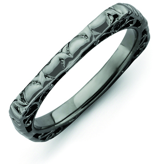 Sterling Silver Stackable Hearts Black-plated Square Ring