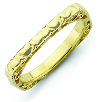 Sterling Silver Stackable Hearts Gold-plated Square Ring
