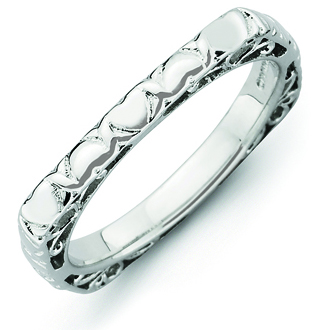 Sterling Silver Stackable Hearts Rhodium-plated Square Ring