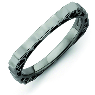 Sterling Silver Stackable Hammered Black-plated Square Ring