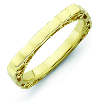 Gold-plated Sterling Silver Stackable Hammered Square Ring