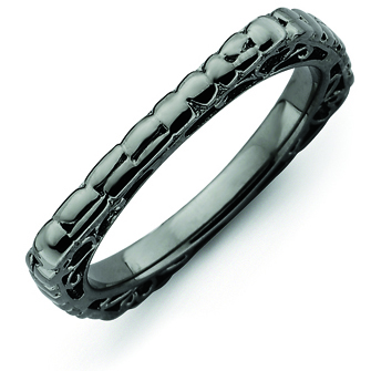Sterling Silver Stackable Snakeskin Black-plated Square Ring
