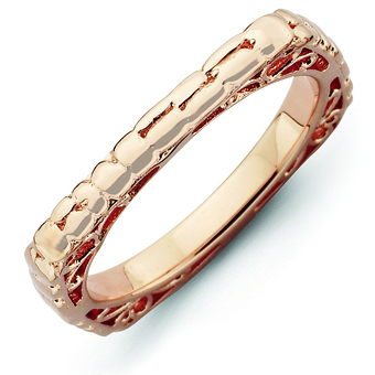 Sterling Silver Stackable Snakeskin Pink-plated Square Ring