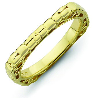 Sterling Silver Stackable Snakeskin Gold-plated Square Ring
