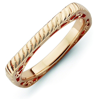 Sterling Silver Stackable Braided Pink-plated Square Ring