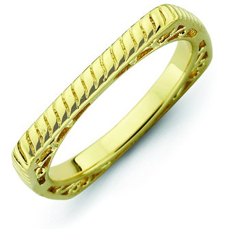 Sterling Silver Stackable Braided Gold-plated Square Ring