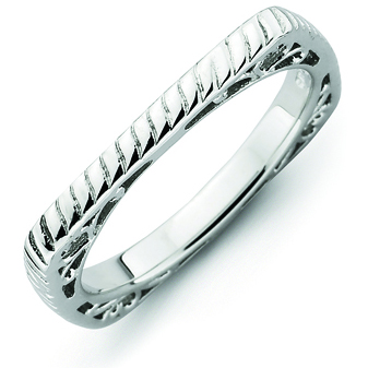Sterling Silver Stackable Braided Square Ring