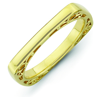 Sterling Silver Stackable Expressions Gold-plated Square Ring