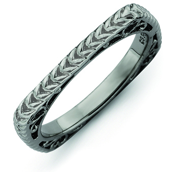 Sterling Silver Stackable Woven Black-plated Square Ring