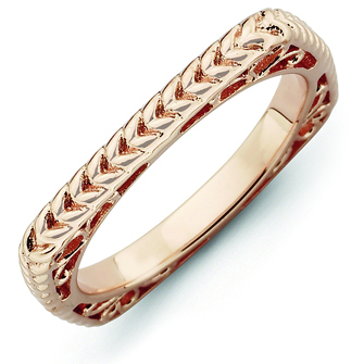 Sterling Silver Stackable Woven Pink-plated Square Ring