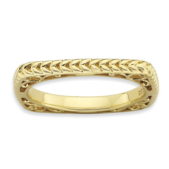 Sterling Silver Stackable Woven Gold-plated Square Ring