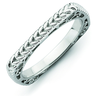 Sterling Silver Stackable Woven Rhodium-plated Square Ring