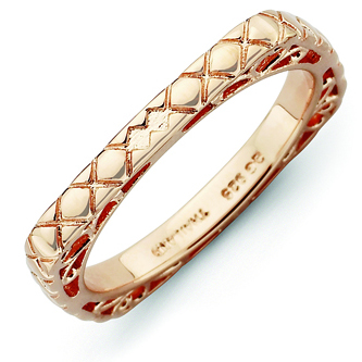 Sterling Silver Stackable Quilted Pink-plated Square Ring