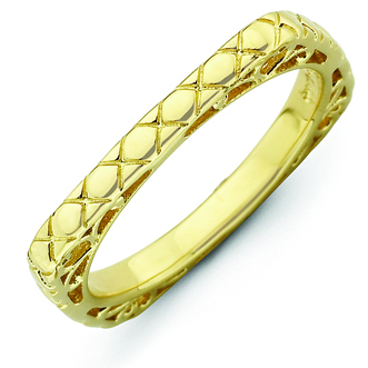 Sterling Silver Stackable Quilted Gold-plated Square Ring