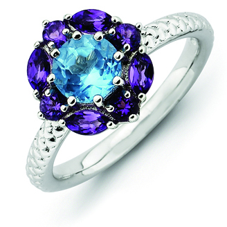 Sterling Silver Stackable Expressions Amethyst and Blue Topaz Ring