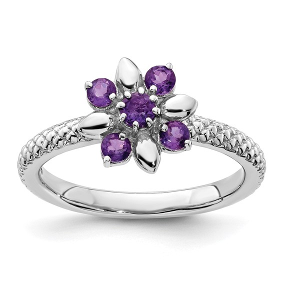 Sterling Silver Stackable Expressions Amethyst Floral Ring