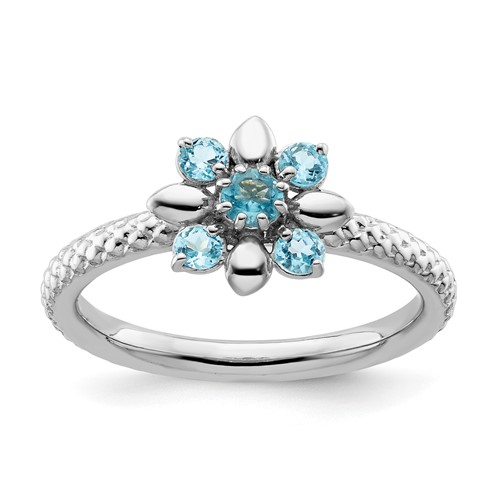 Sterling Silver Stackable Expressions Blue Topaz Ring Flower Motif