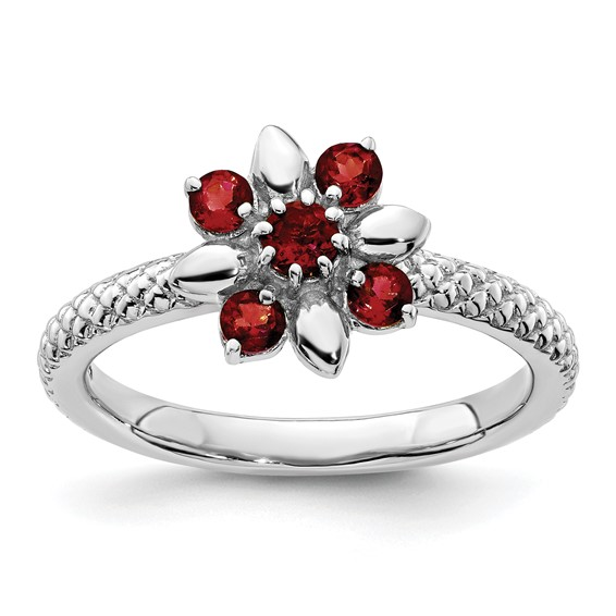 Sterling Silver Stackable Expressions Garnet Floral Ring
