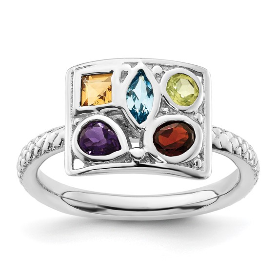 Sterling Silver Stackable Expressions Multi-Gemstone Ring