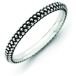 Sterling Silver Stackable Expressions Beaded Antiqued Ring