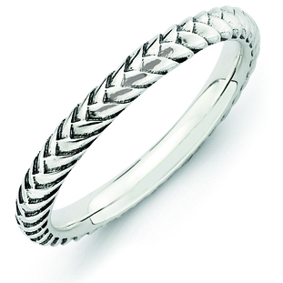 Sterling Silver Stackable Expressions Woven 2.5mm Ring