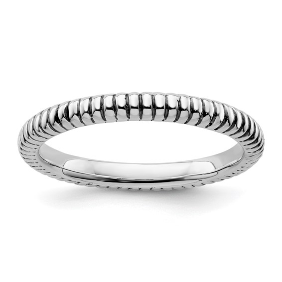 Sterling Silver Stackable Expressions Ribbed 2.5mm Ring