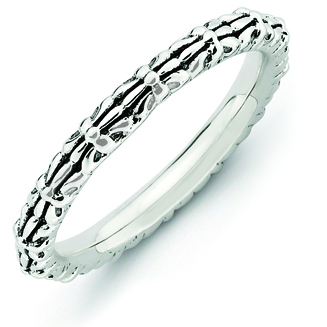 Sterling Silver Stackable Antiqued and Patterned Ring