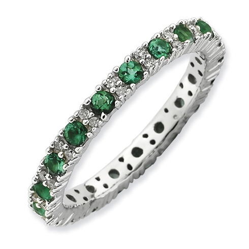 Sterling Silver Created Emerald & Diamond Eternity Ring