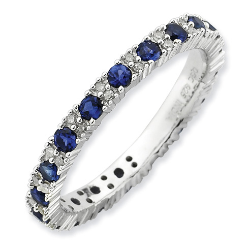 Sterling Silver 1/8 ct Created Sapphire and Diamond Ring