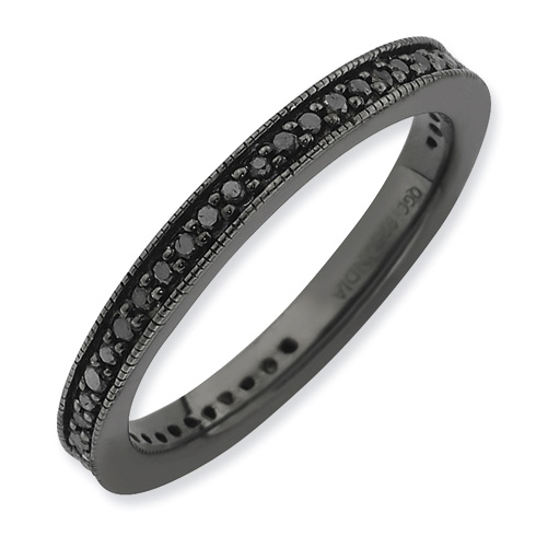 Black-plated Sterling Silver Stackable Expressions Black Diamond Ring