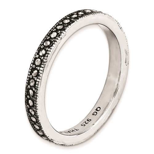 Sterling Silver 3mm Stackable Expressions Marcasite Ring