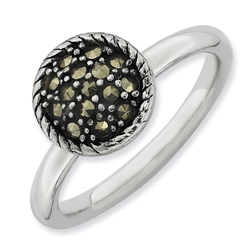 Sterling Silver Stackable Expressions Marcasite Circle Ring