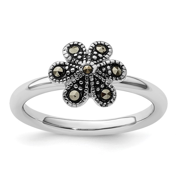 Sterling Silver Stackable Expressions Marcasite Flower Ring