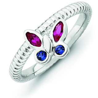 Sterling Silver Stackable Created Ruby and Sapphire Butterfly Ring