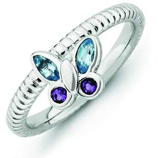 Sterling Silver Stackable Amethyst Blue Topaz Butterfly Ring