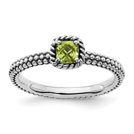 Sterling Silver 1/4 ct Checkerboard Cut Peridot Antiqued Ring