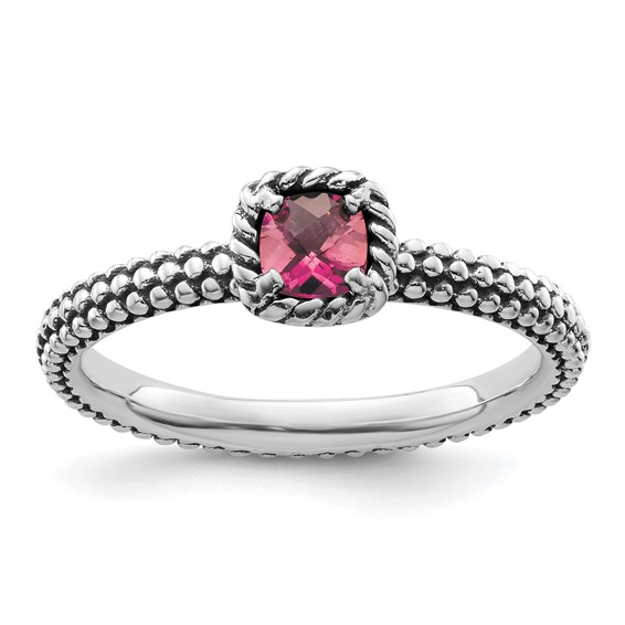 Sterling Silver 1/4 ct Checkerboard Pink Tourmaline Beaded Ring