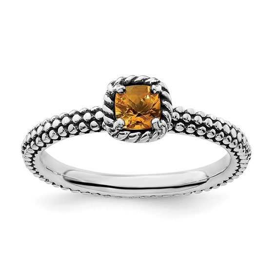 Sterling Silver Checkerboard Cut Citrine Antiqued Ring