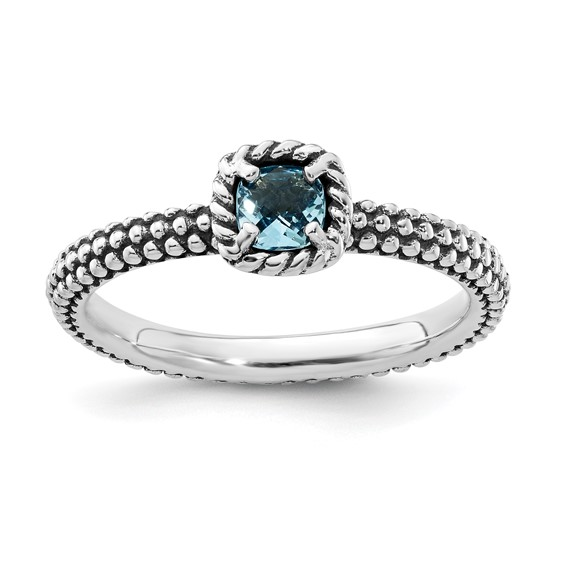 Sterling Silver Checkerboard Cut Blue Topaz Antiqued Ring