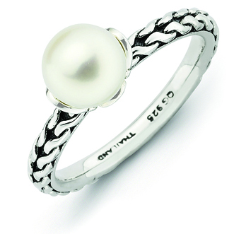 Sterling Silver 7mm White Pearl Stackable Ring