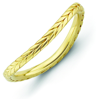 Sterling Silver Stackable Wheat Gold-plated Wave Ring