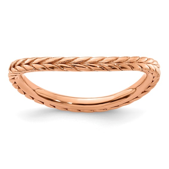 Sterling Silver Stackable Wheat Pink-plated Wave Ring